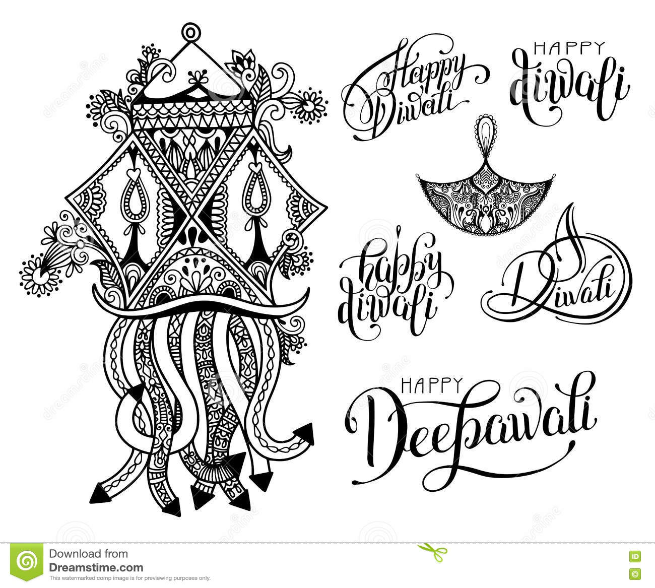 Set of black and white hand drawing design element lettering inscription for diwali celebration indian fire festival collection vector illustration