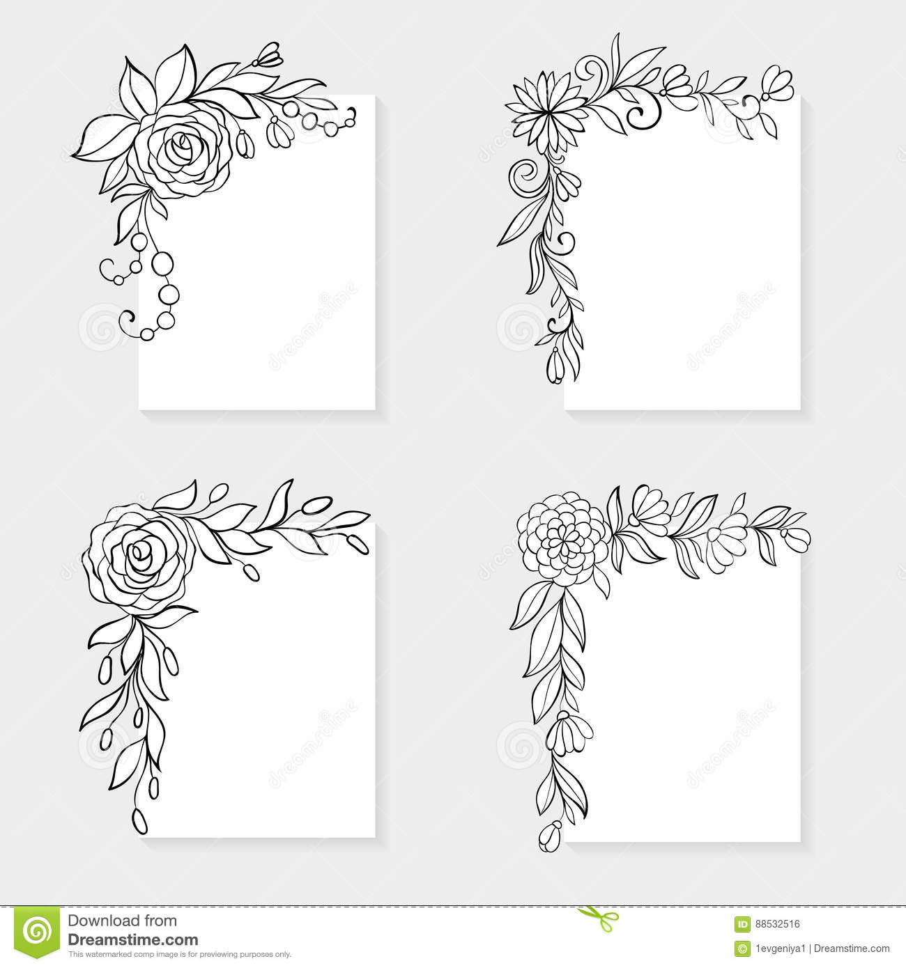 Set of black and white hand drawn corner floral borders
