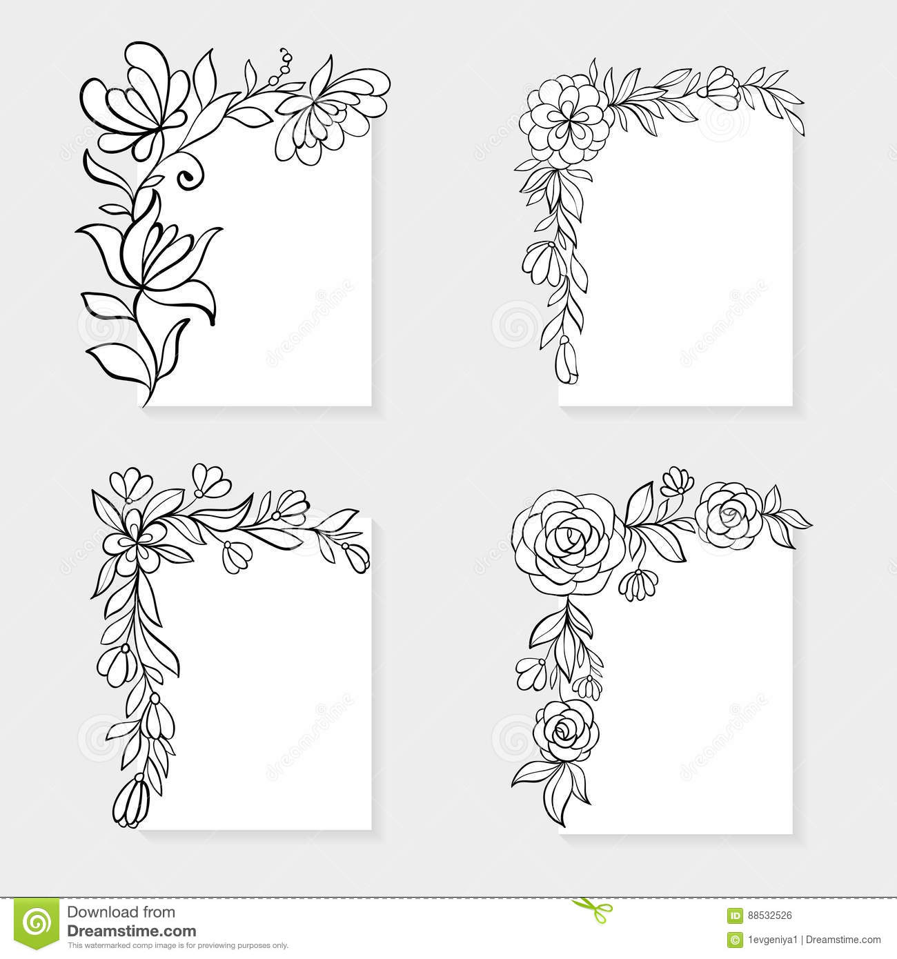 set of black and white hand drawn corner floral borders stock