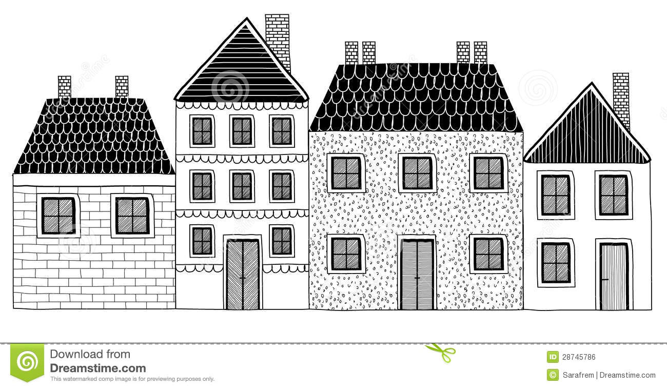 Set Of Black And White Hand Drawn Houses Royalty Free