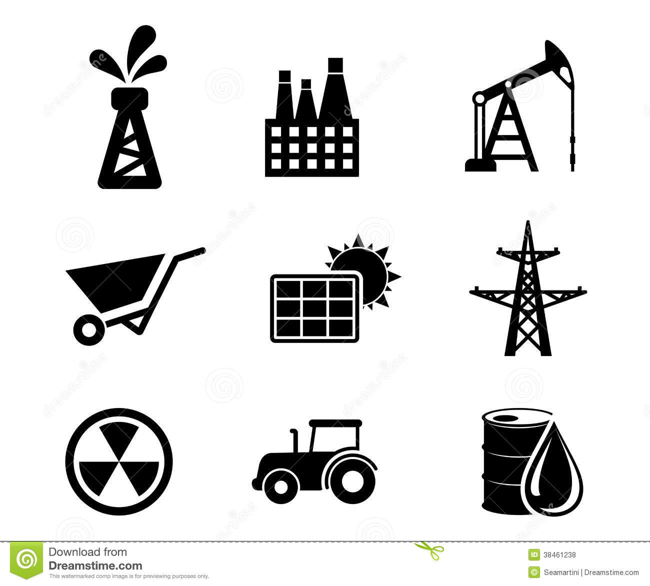 Set Of Black And White Industrial Icons Royalty Free Stock
