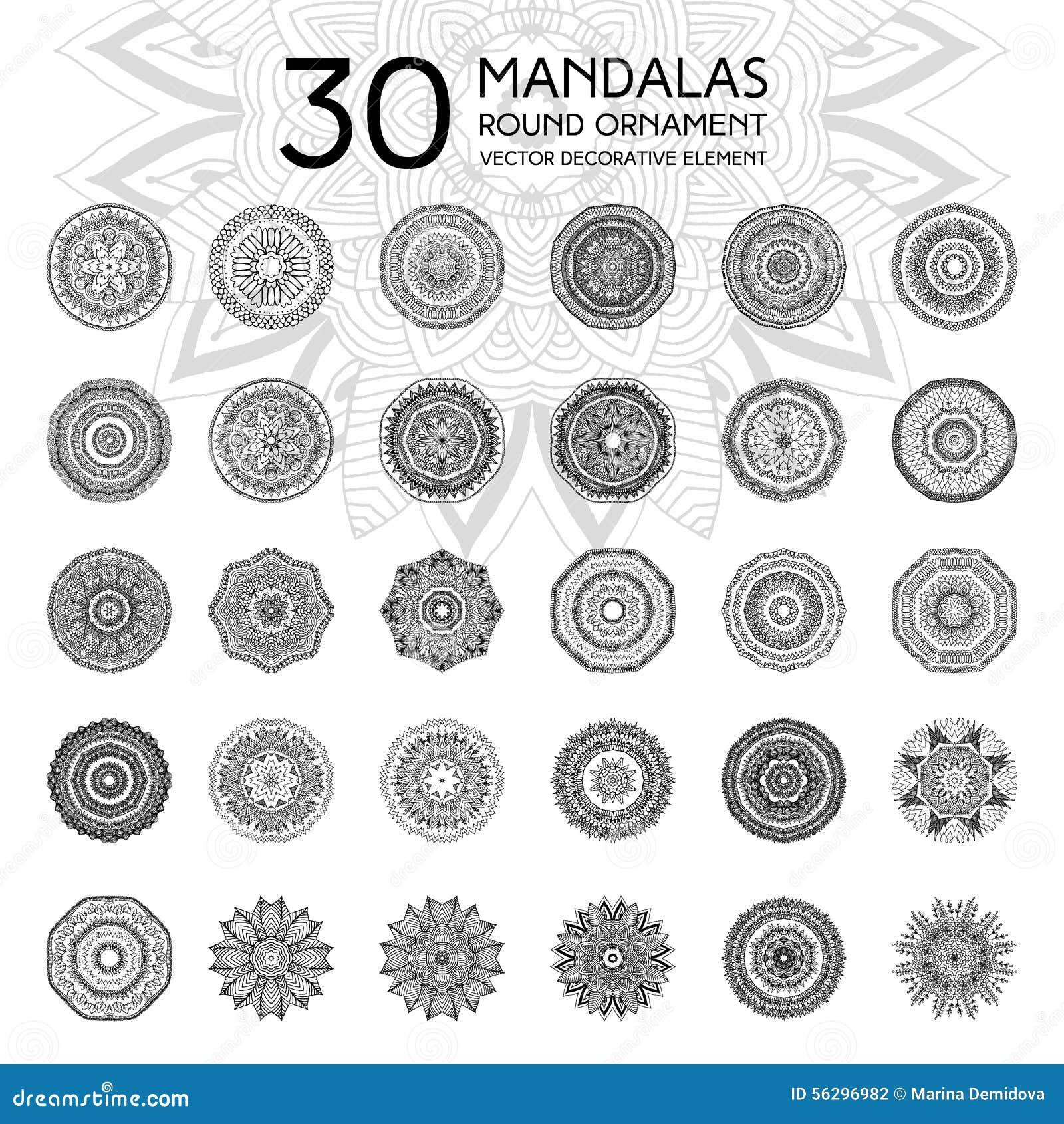Set of mandalas. Ethnic oriental symbols. Geometric symmetry round ...