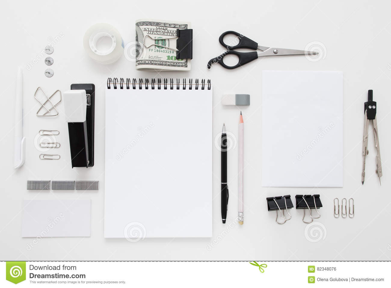 Set Of Black And White Office Supplies Flat Lay