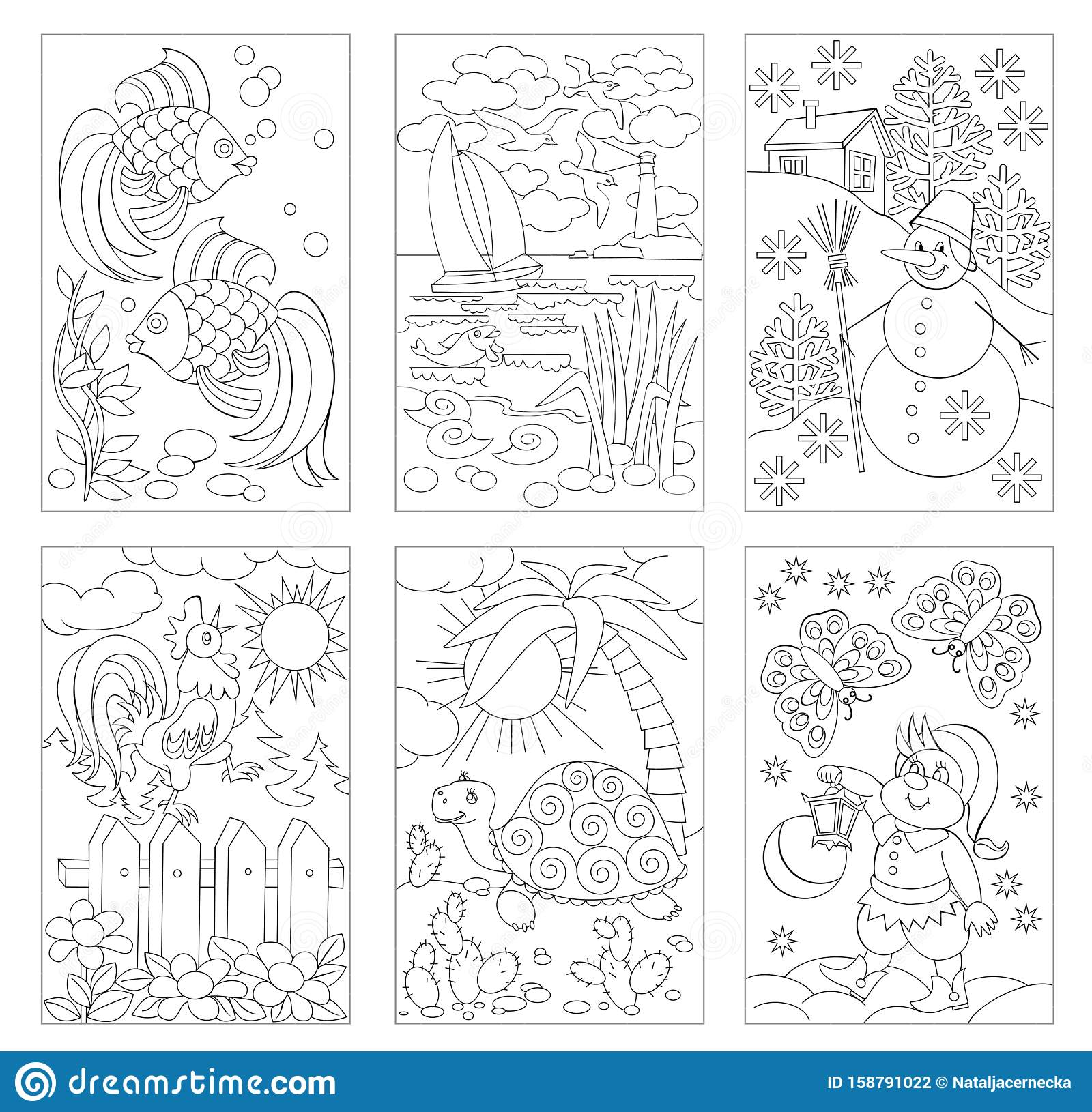 Set Of Black And White Pages For Baby Coloring Book ...