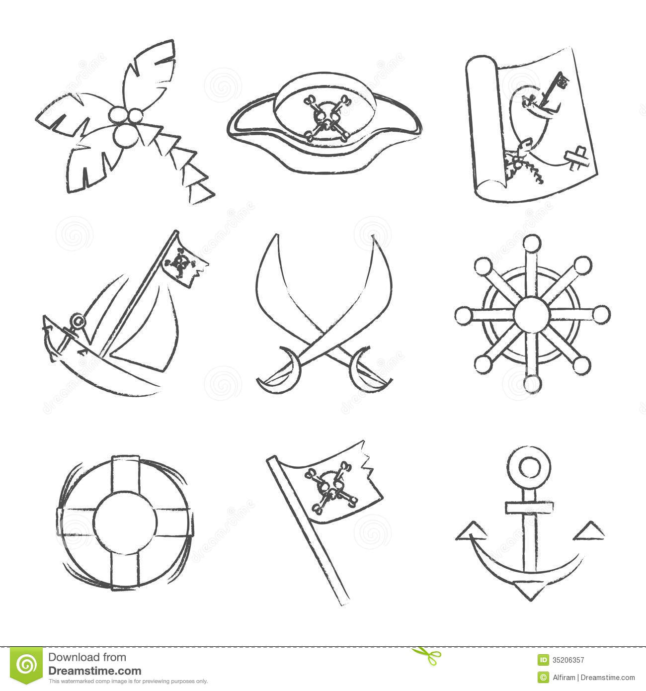 Set Of Black And White Pirate Symbols Stock Vector Illustration Of