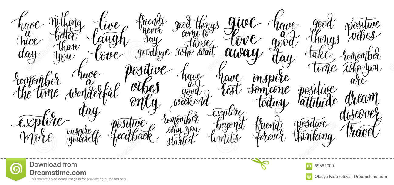 Set Of 25 Black And White Positive Inspirational Quotes About Li