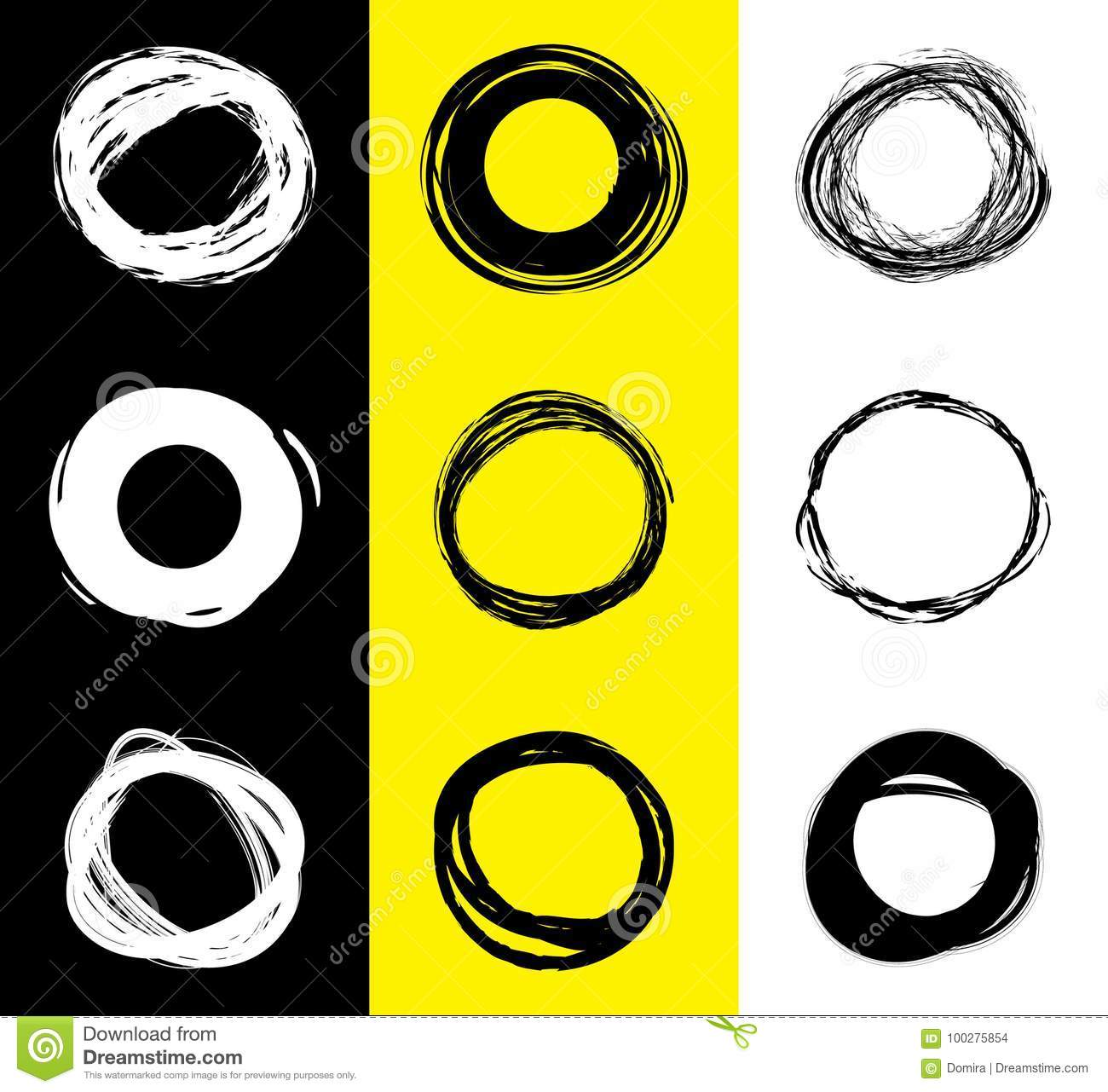 Set of black and white round stains. Hand drawn scribble circles. Spot banner for text. Vector logo