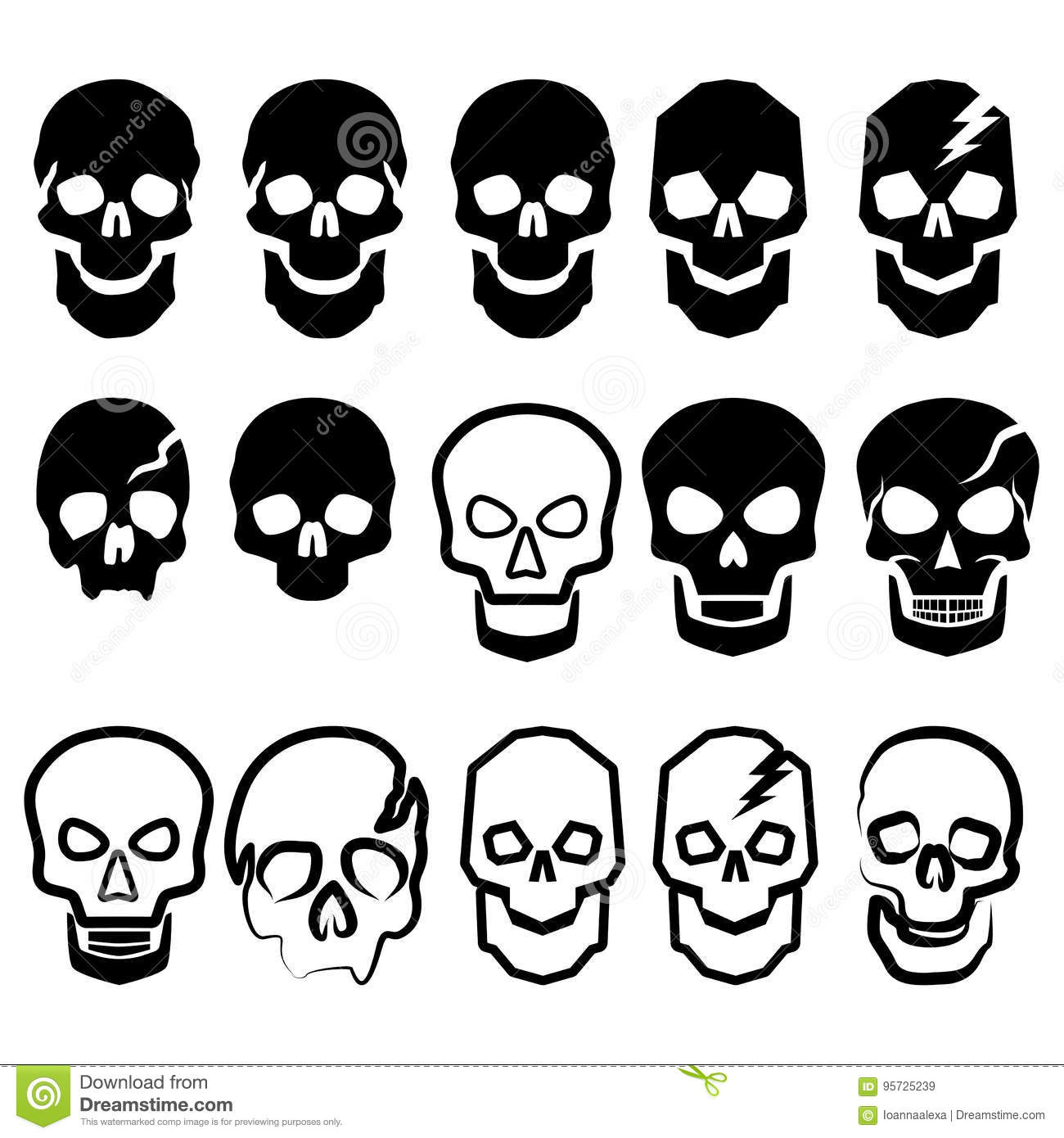 A set of black and white simple skulls