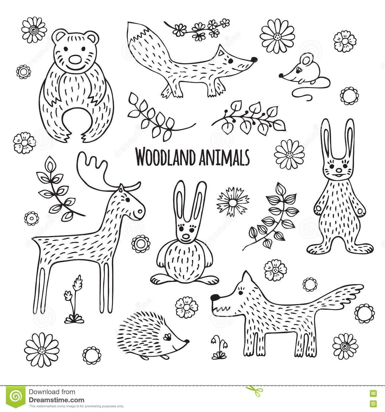 Line Drawings Of Woodland Animals : Set of black and white tropical animals stock vector