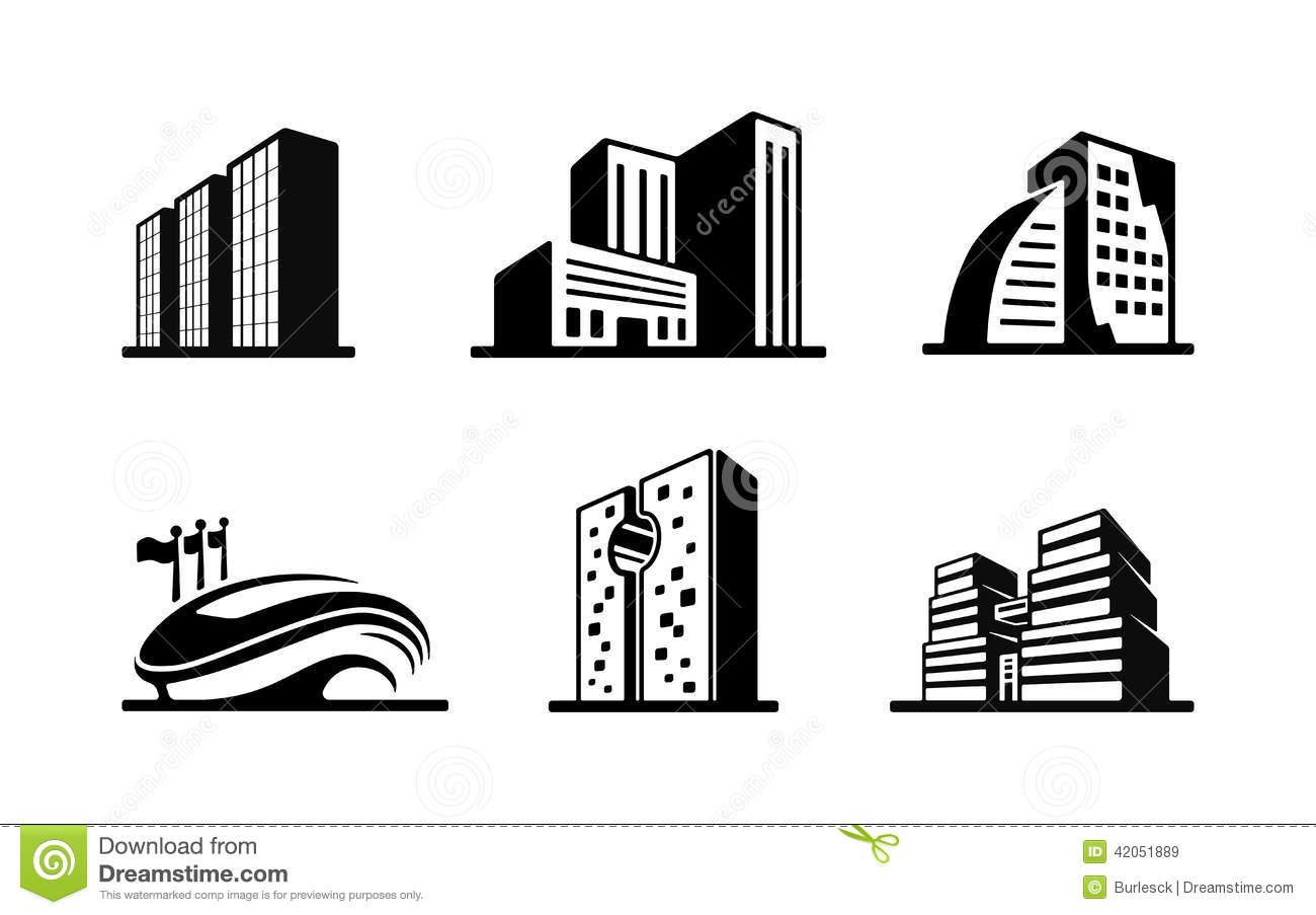 Download Set Of Black And White Vector Building Icons Stock