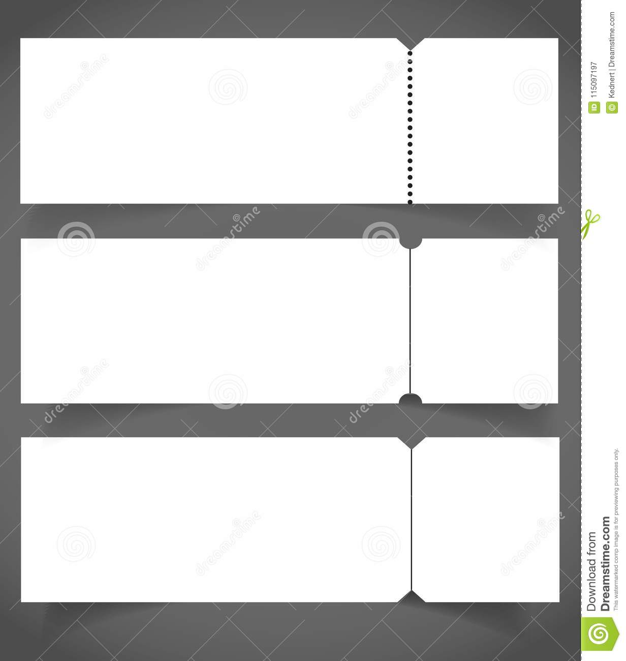 set of blank event concert ticket mockup template concert party or