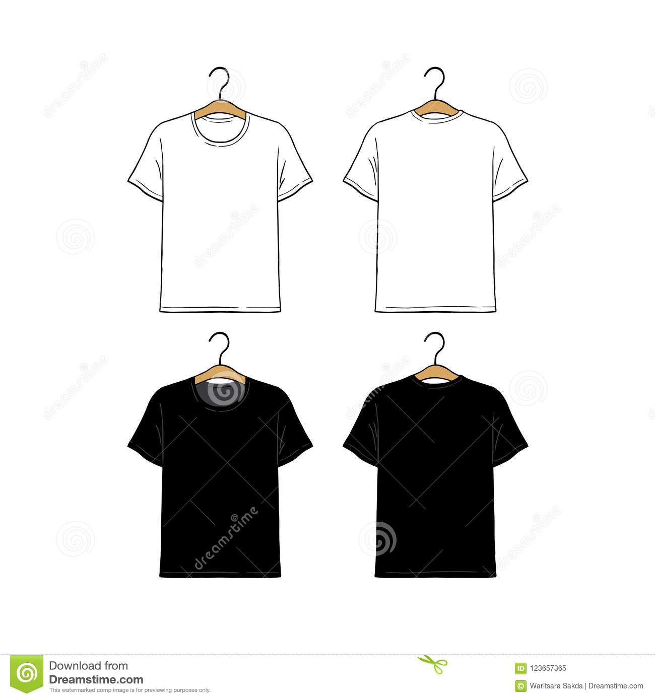 Set Of Blank Hanging T Shirt Design Template Hand Drawn Vector Illustration Front And