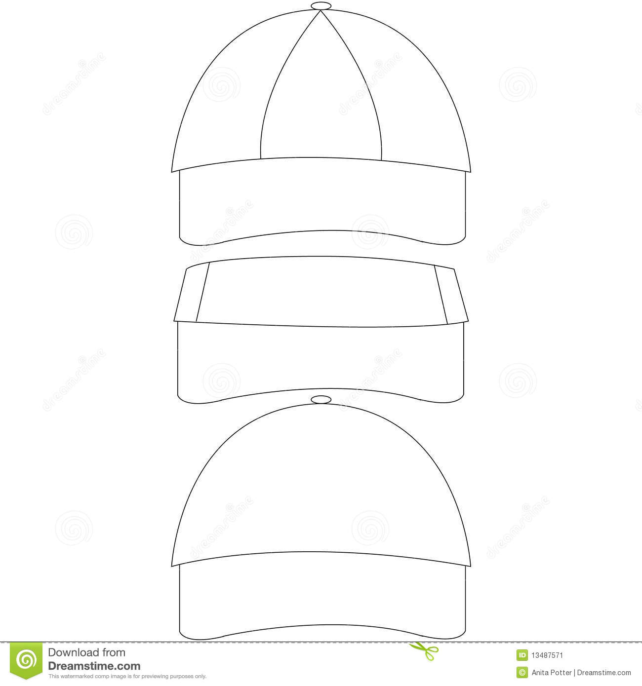 Blank Vector Calendar Template : Set of blank hat templates stock vector illustration
