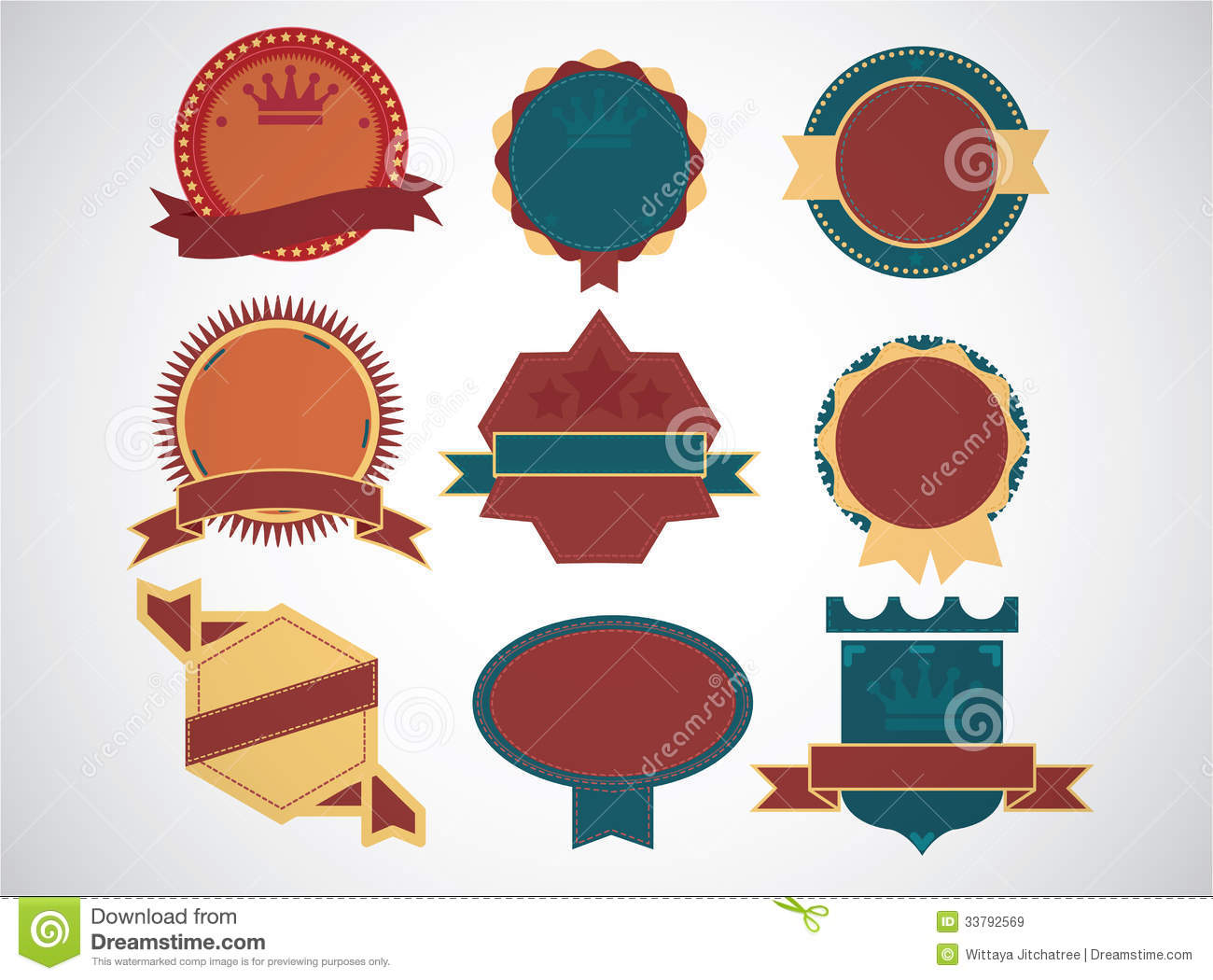 Set Of Blank Retro Vintage Badges And Labelseps10 Stock Vector