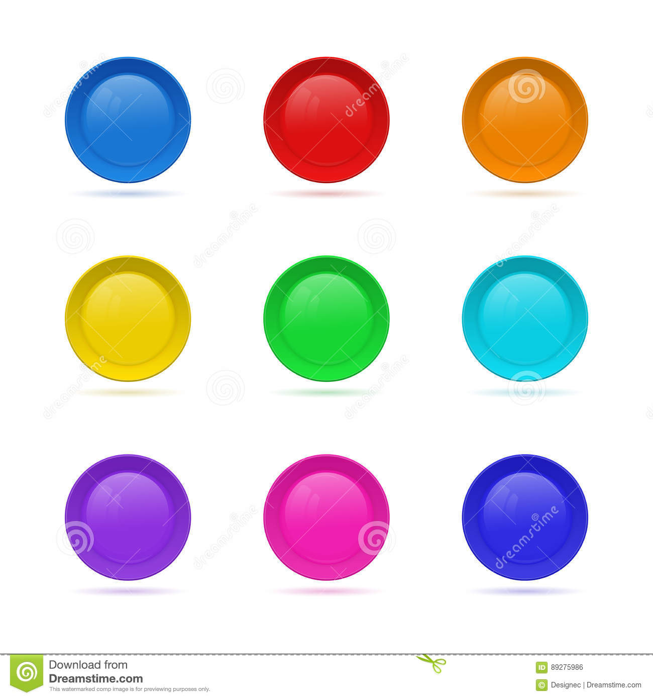 872b394088d Set of Blank round button for website. 3D glass button collection. Vector  illustration. Royalty-Free Vector