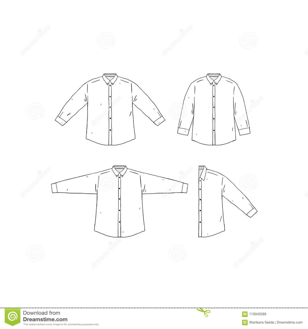 Set Of Blank Shirt Design Template Hand Drawn Vector Illustration Front Sides White