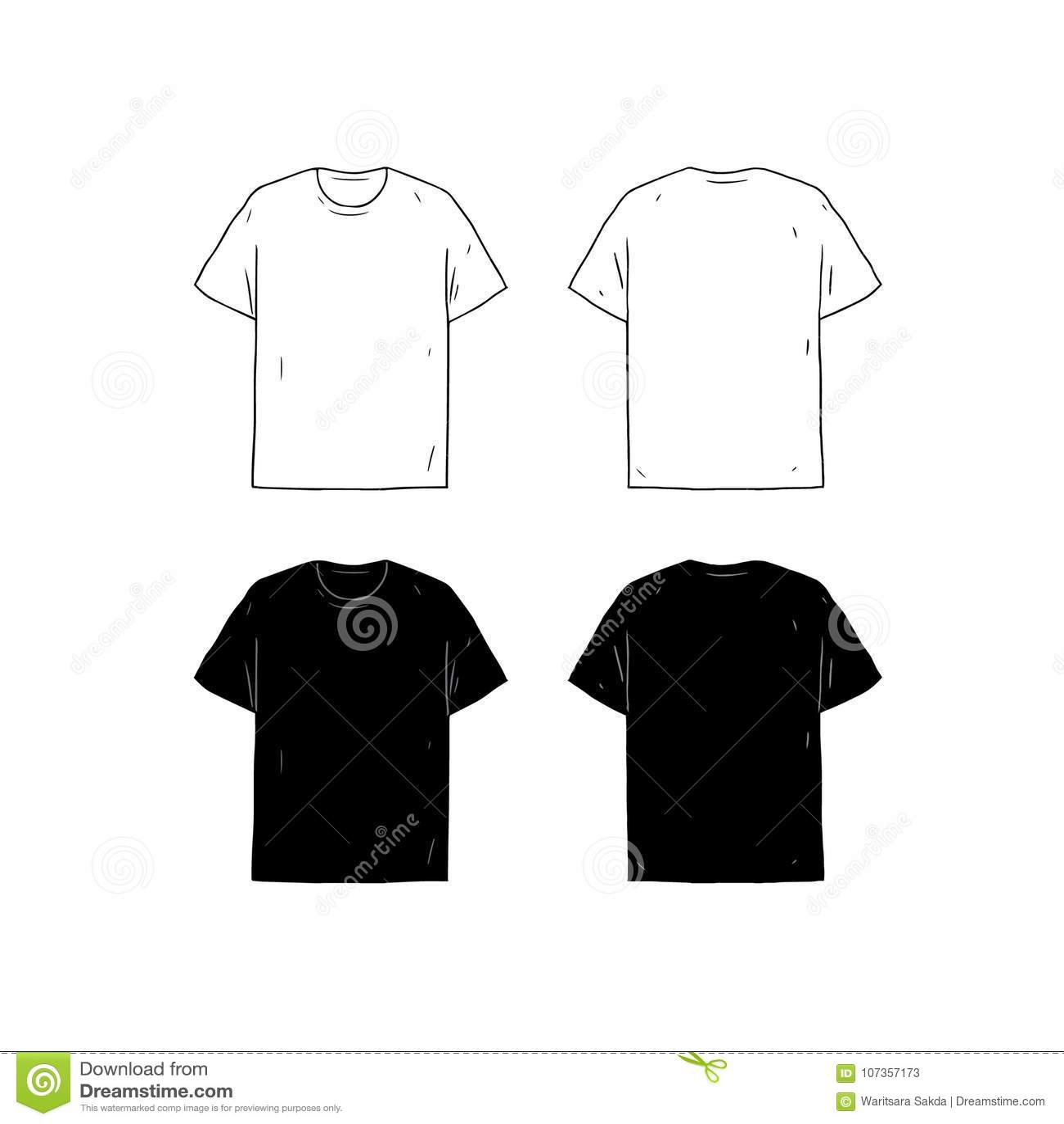 Set Of Blank T-shirt Design Template Hand Drawn Vector