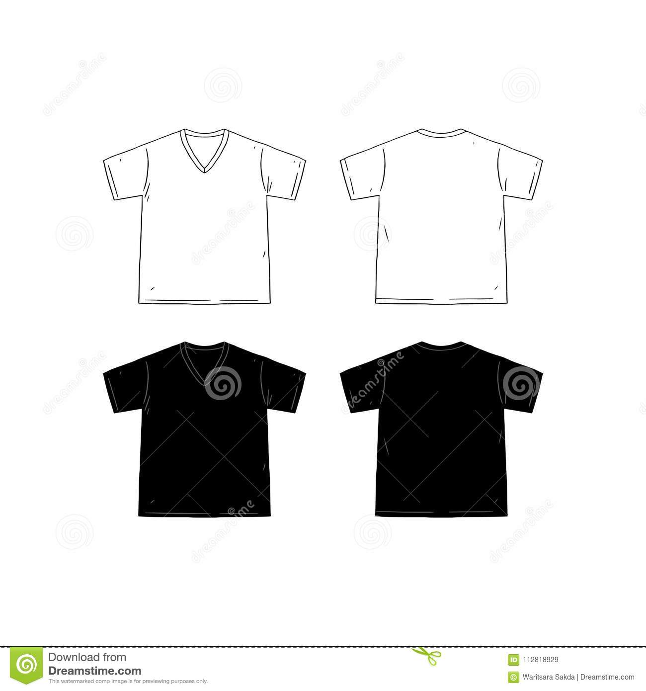 13e57ffa5fb4 Set of blank v-neck t-shirt design template hand drawn vector illustration.