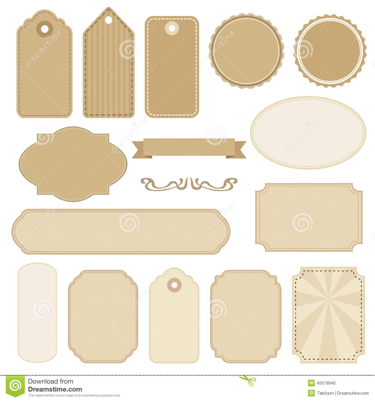 Set Of Blank Vintage Frames, Tags And Labels, S Stock Vector - Image ...