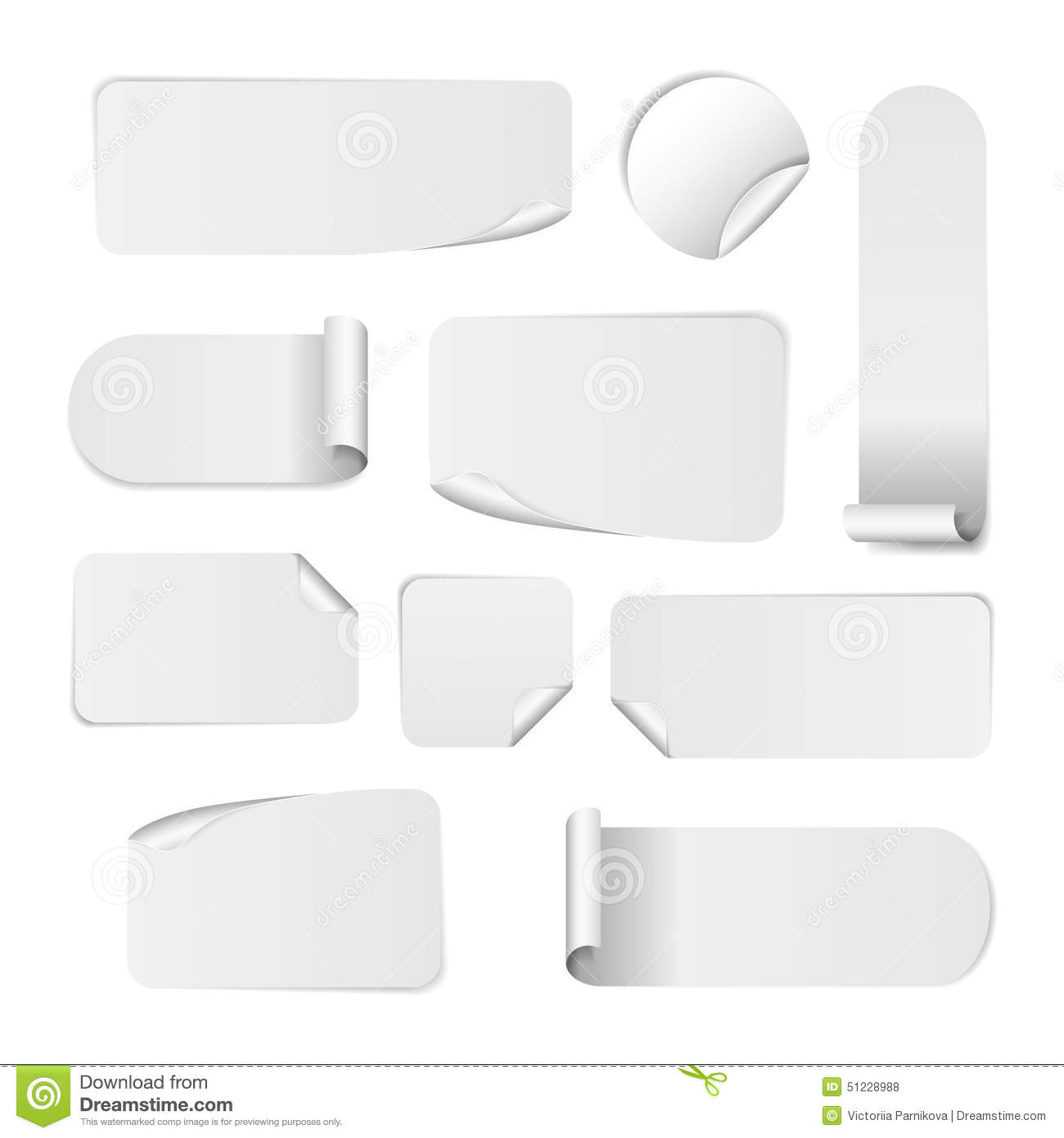 Set Of Blank White Paper Stickers. Round, Square Stock Vector ...