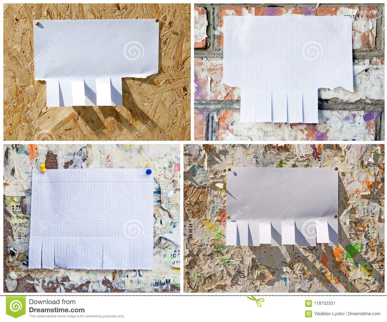 blank white paper with tear off tabs stock image image of clip