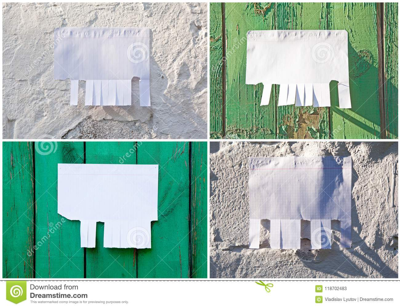 blank white paper with tear off tabs stock image image of