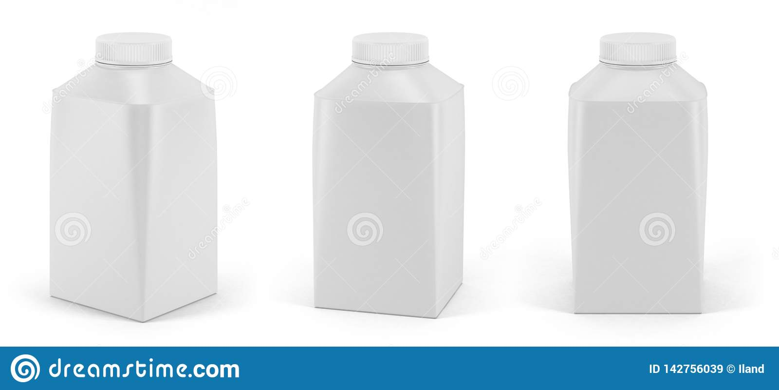 Set of blank white yoghurt or milk pack with lid