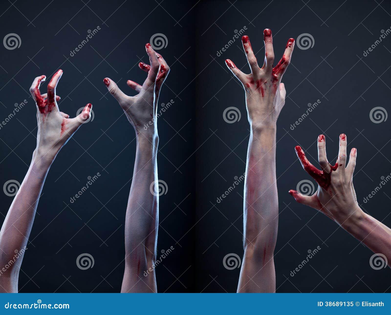 Set of bloody zombie hands