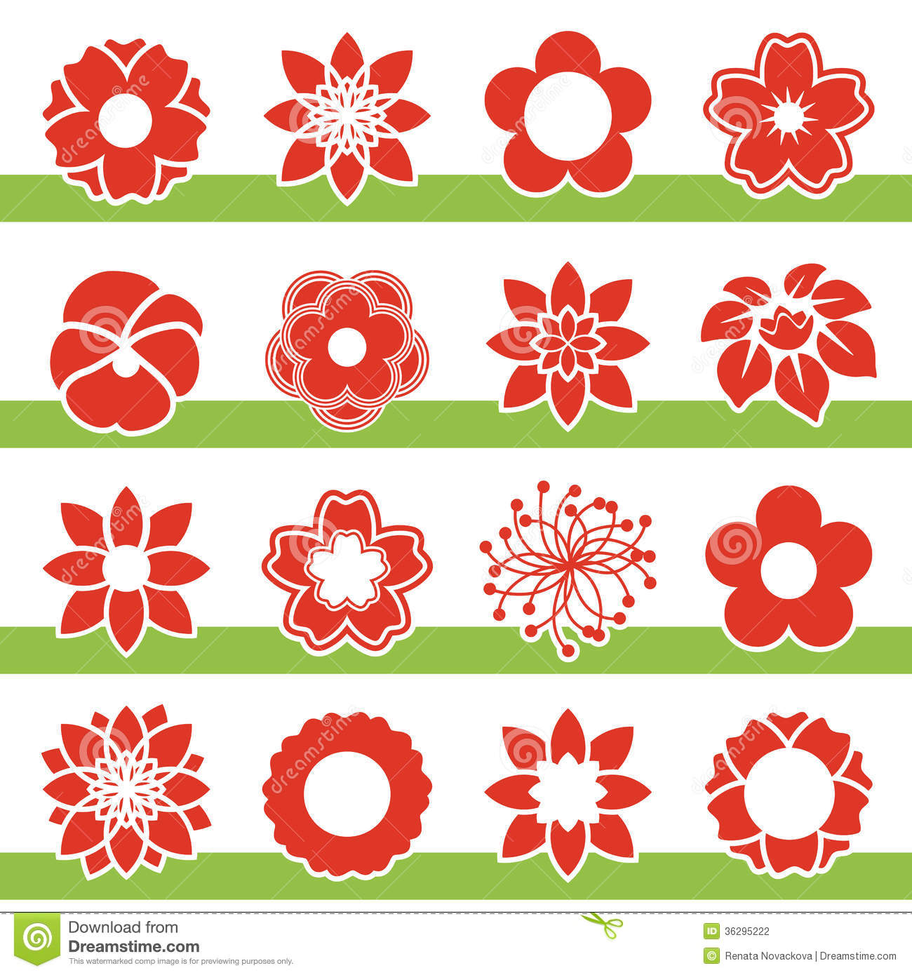 Set Blooming Flowers Symbol Icon Flower Stock graphy Image 3