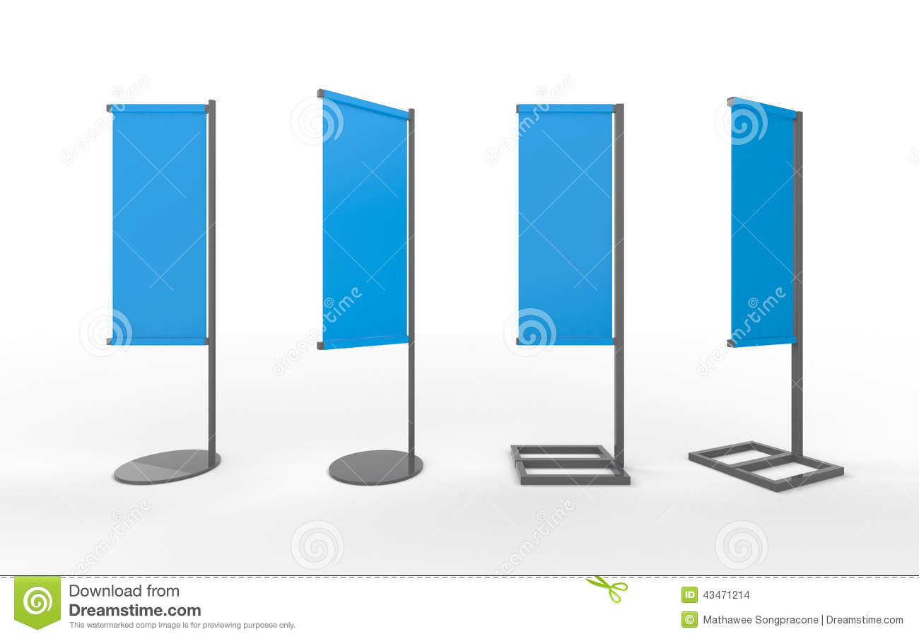 Exhibition Stand Presentation : Set of blue blank banner japanese flag display with
