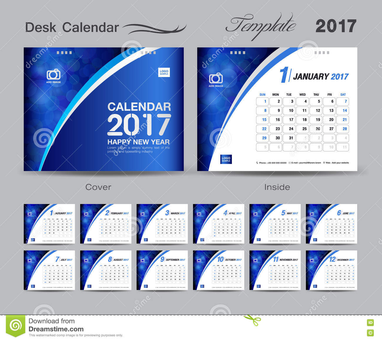 Calendar Design Ideas Vector : Set blue desk calendar template design cover