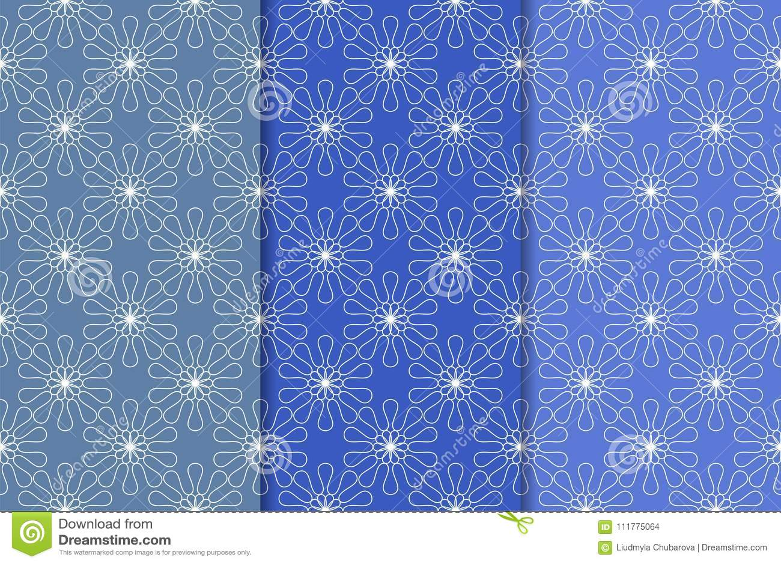 Set of blue floral ornamental designs. Vertical seamless patterns