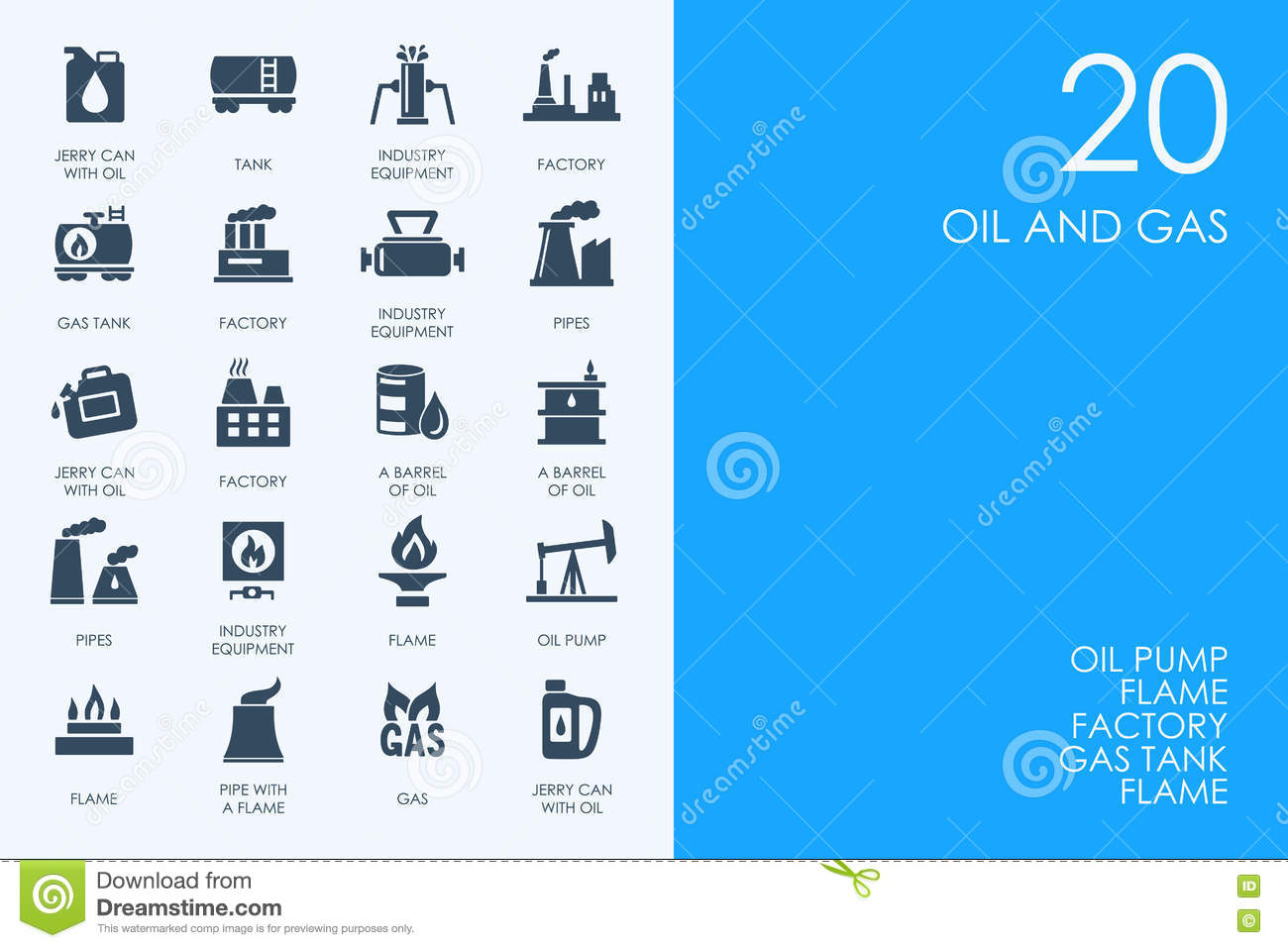 Set of BLUE HAMSTER Library oil and gas icons