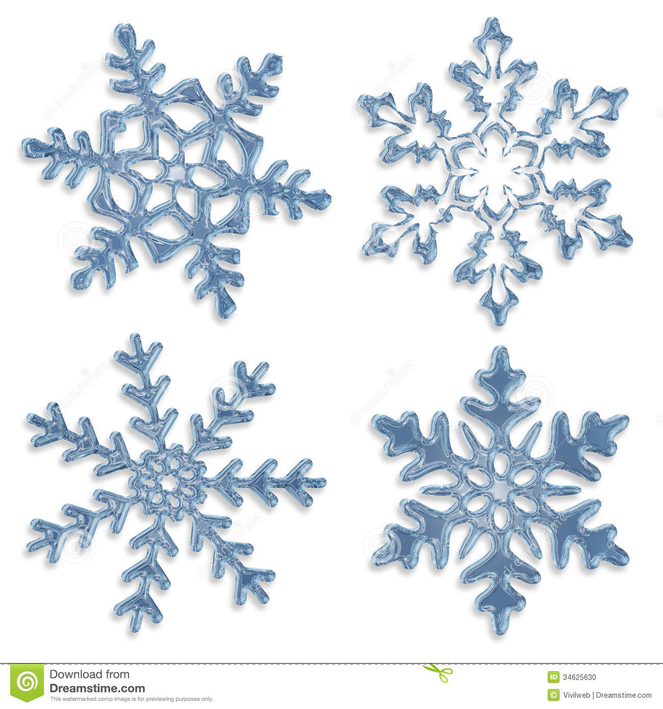 Set of blue icy snowflakes on white background White Snowflake Transparent Background