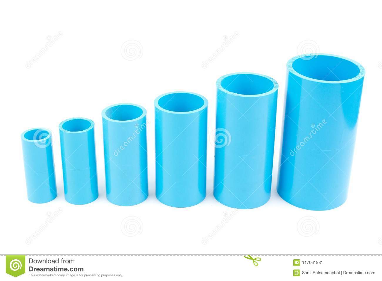 Set Blue PVC Pipe Fittings Joint  Stock Image - Image of blue