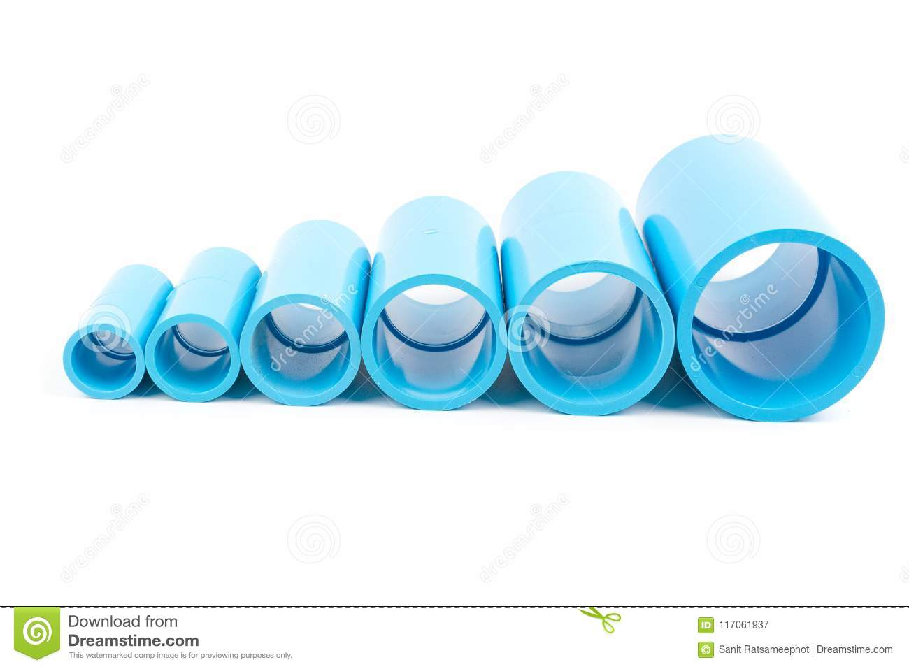 Set Blue PVC Pipe Fittings Joint  Stock Image - Image of