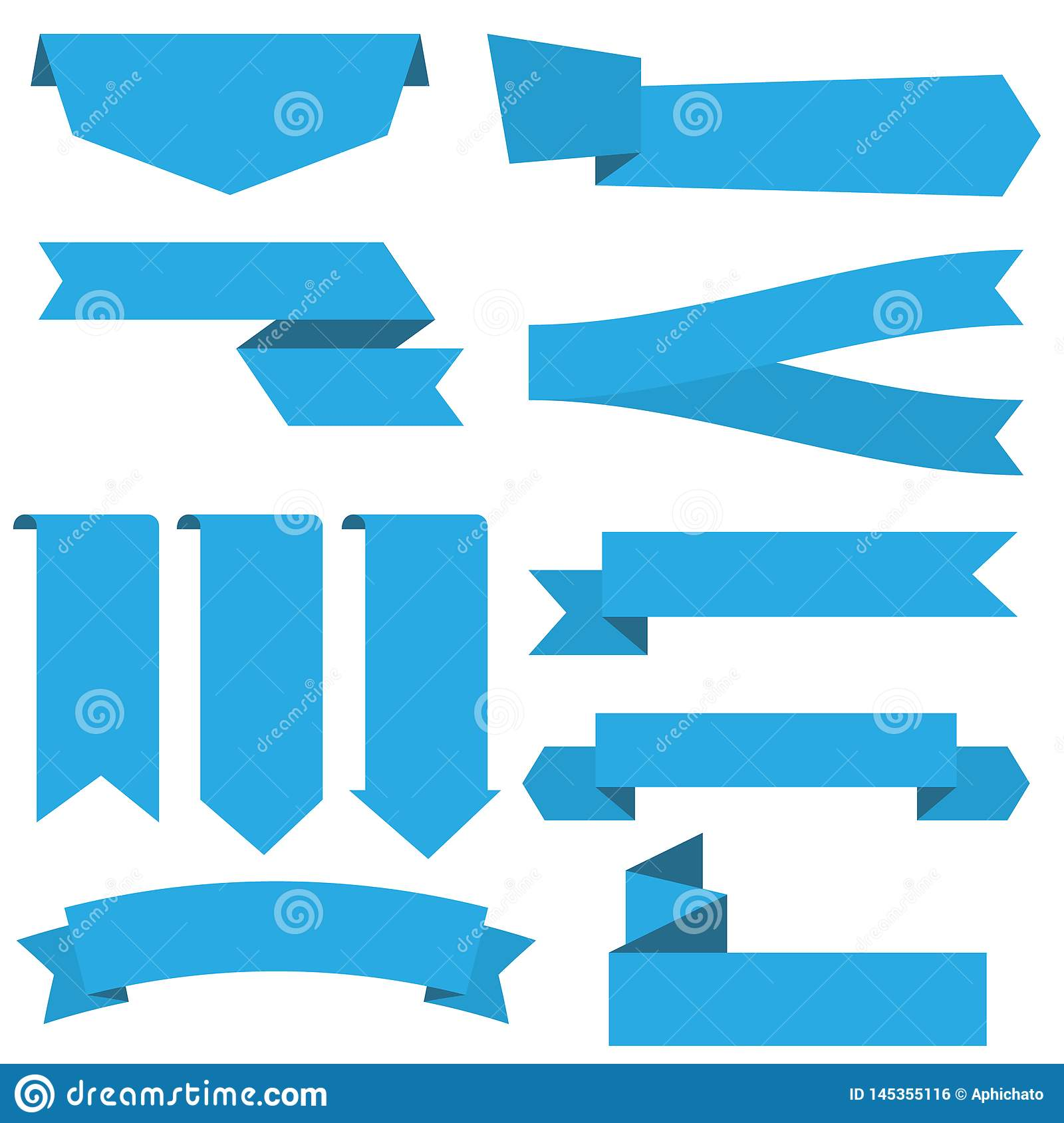 Set of blue ribbon banner icon. Ribbon vector banner, on white background stock illustration