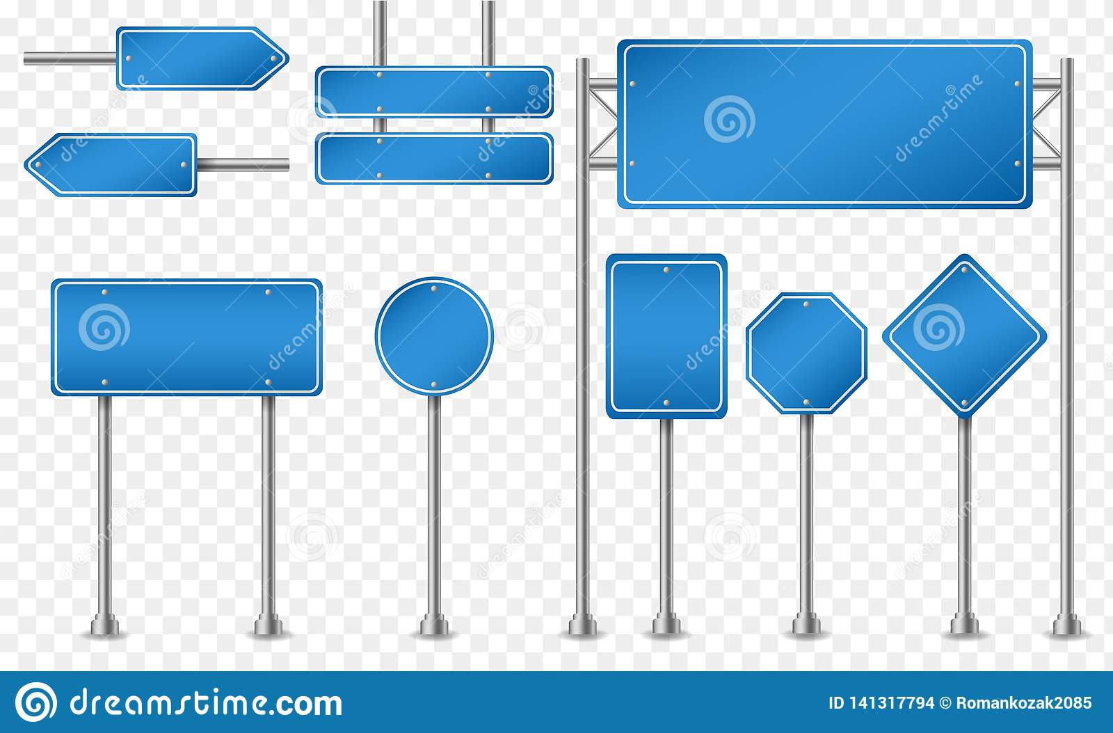 Set of blue road signs