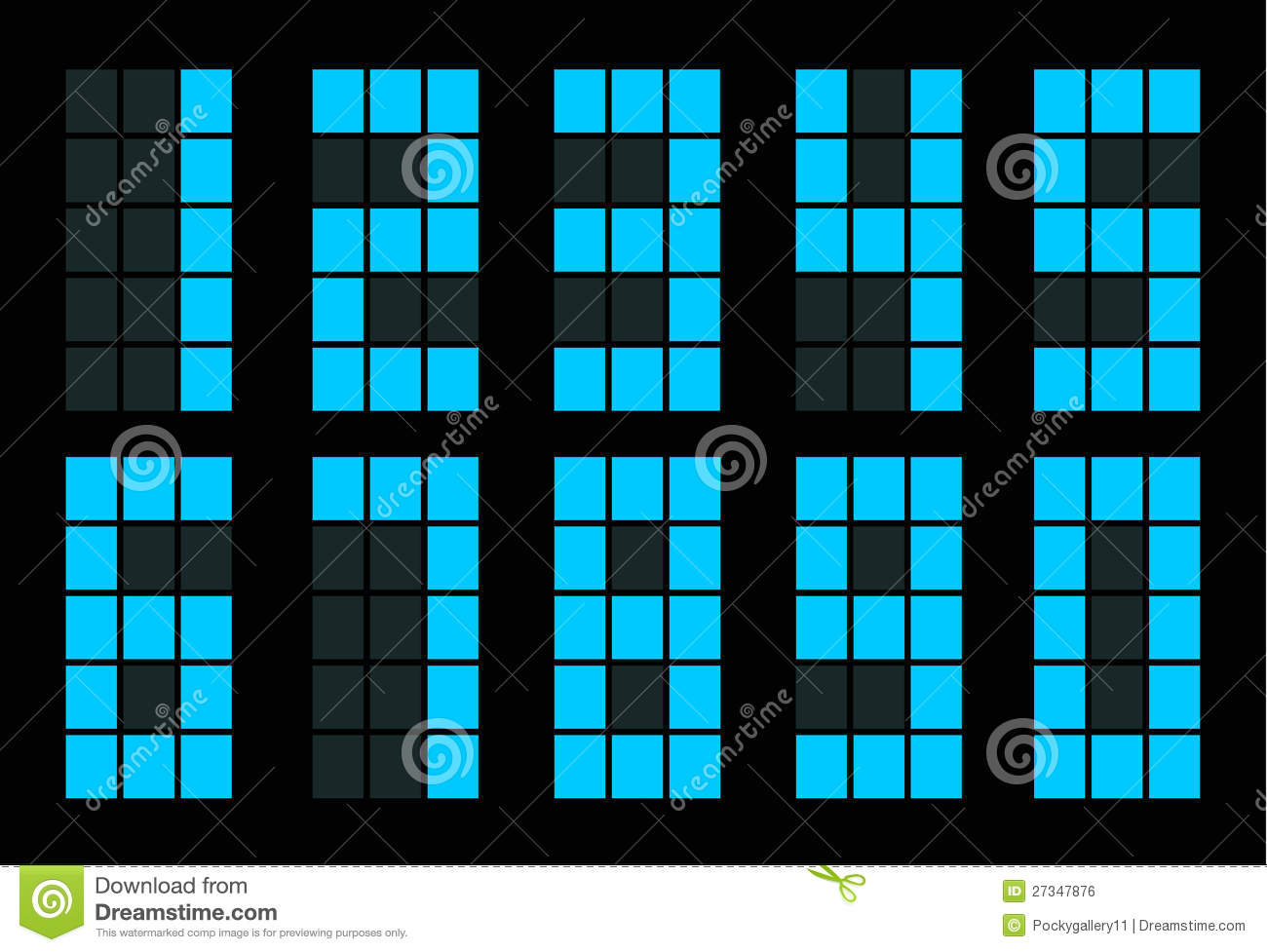 Set Of Blue Square Digital Number Royalty Free Stock Image