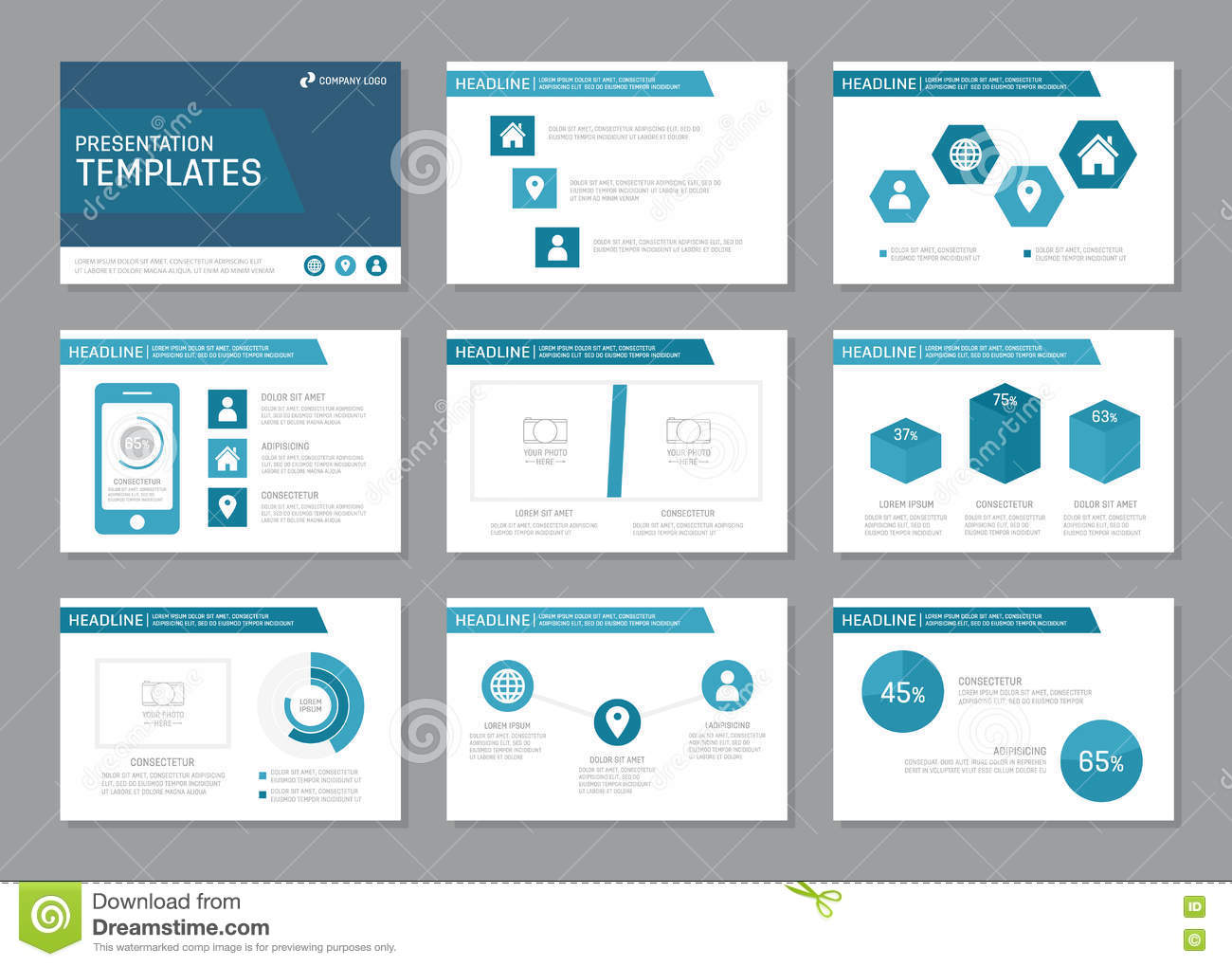 set of blue template for multipurpose presentation slides