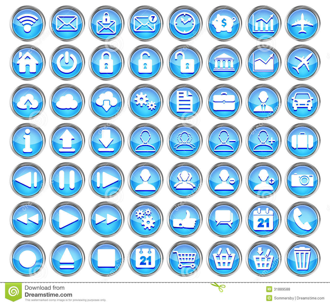 set of blue web  multimedia and business icons stock vector