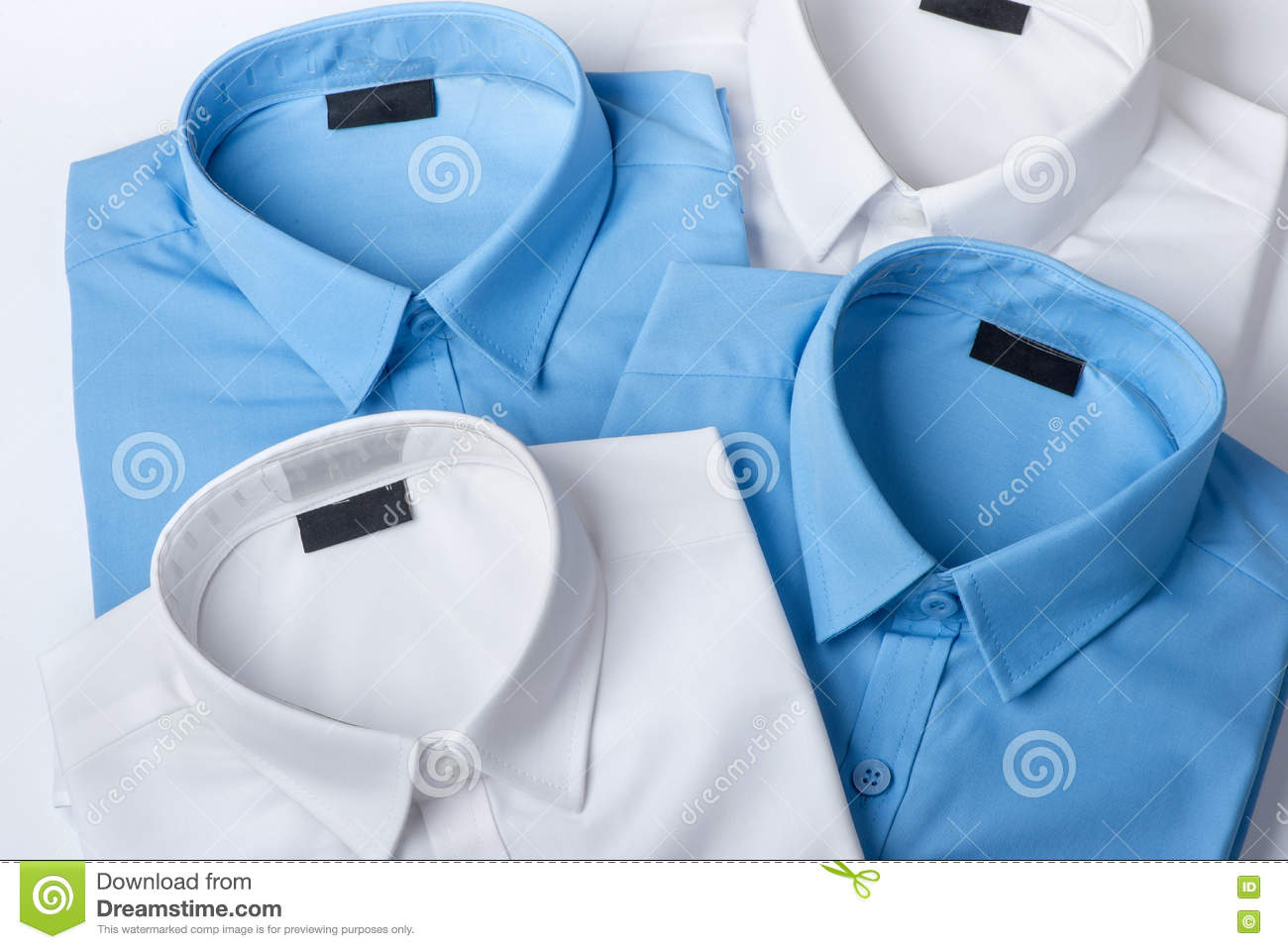 Set of blue and white mans shirt