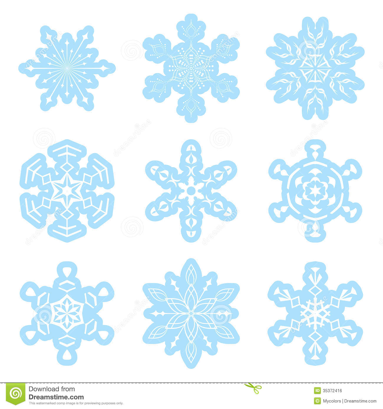 Set - Vector Blue And White Snowflakes Royalty Free Stock ...