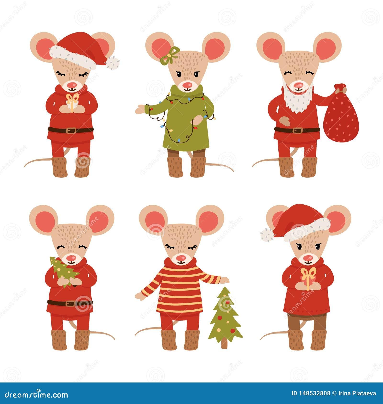 Set Bożenarodzeniowe myszy odizolowywać na białym tle posta? z kresk?wki dzieci kolorowa graficzna ilustracja r?wnie? zwr?ci? cor