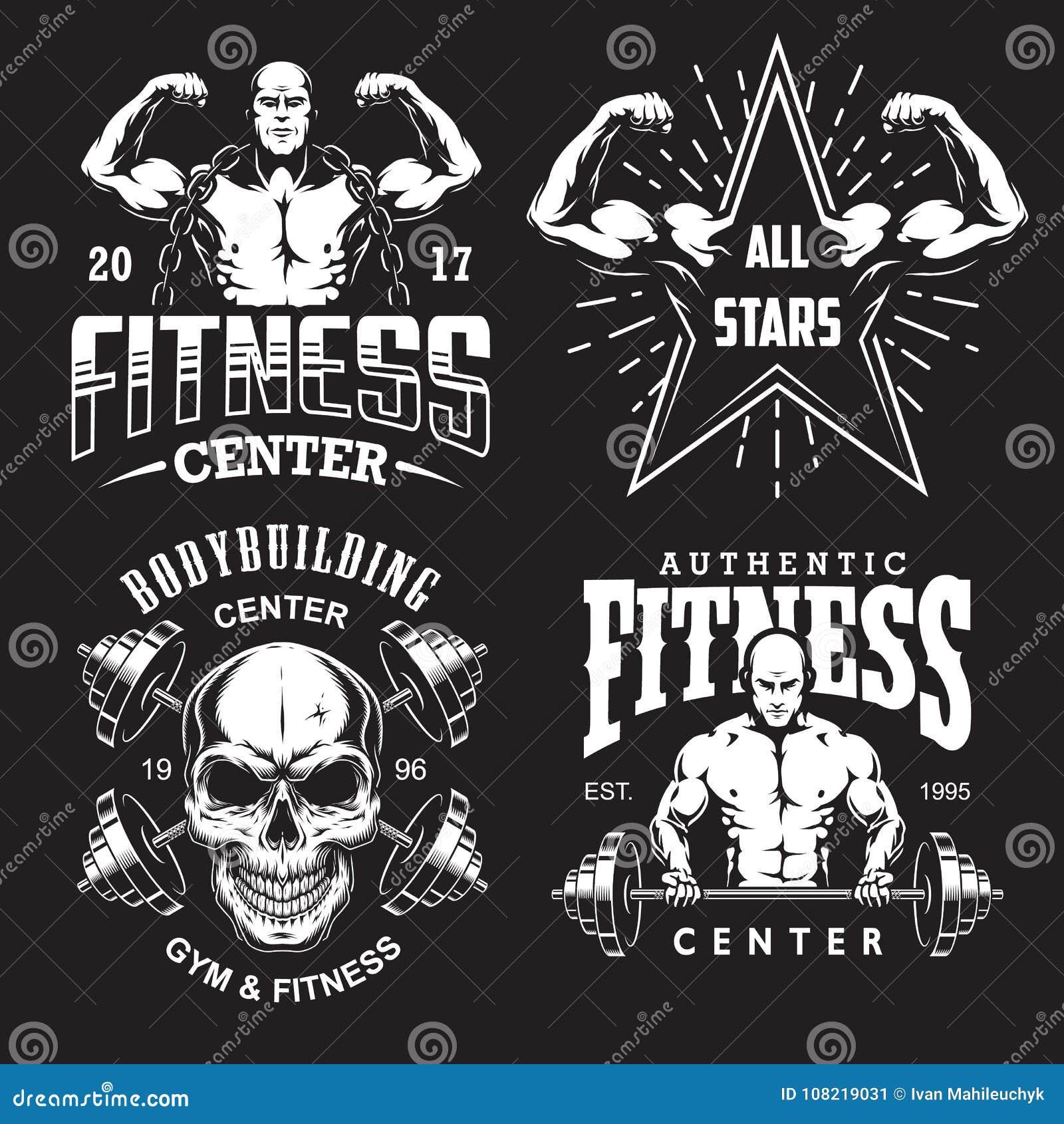 Set bodybuilding emblematy