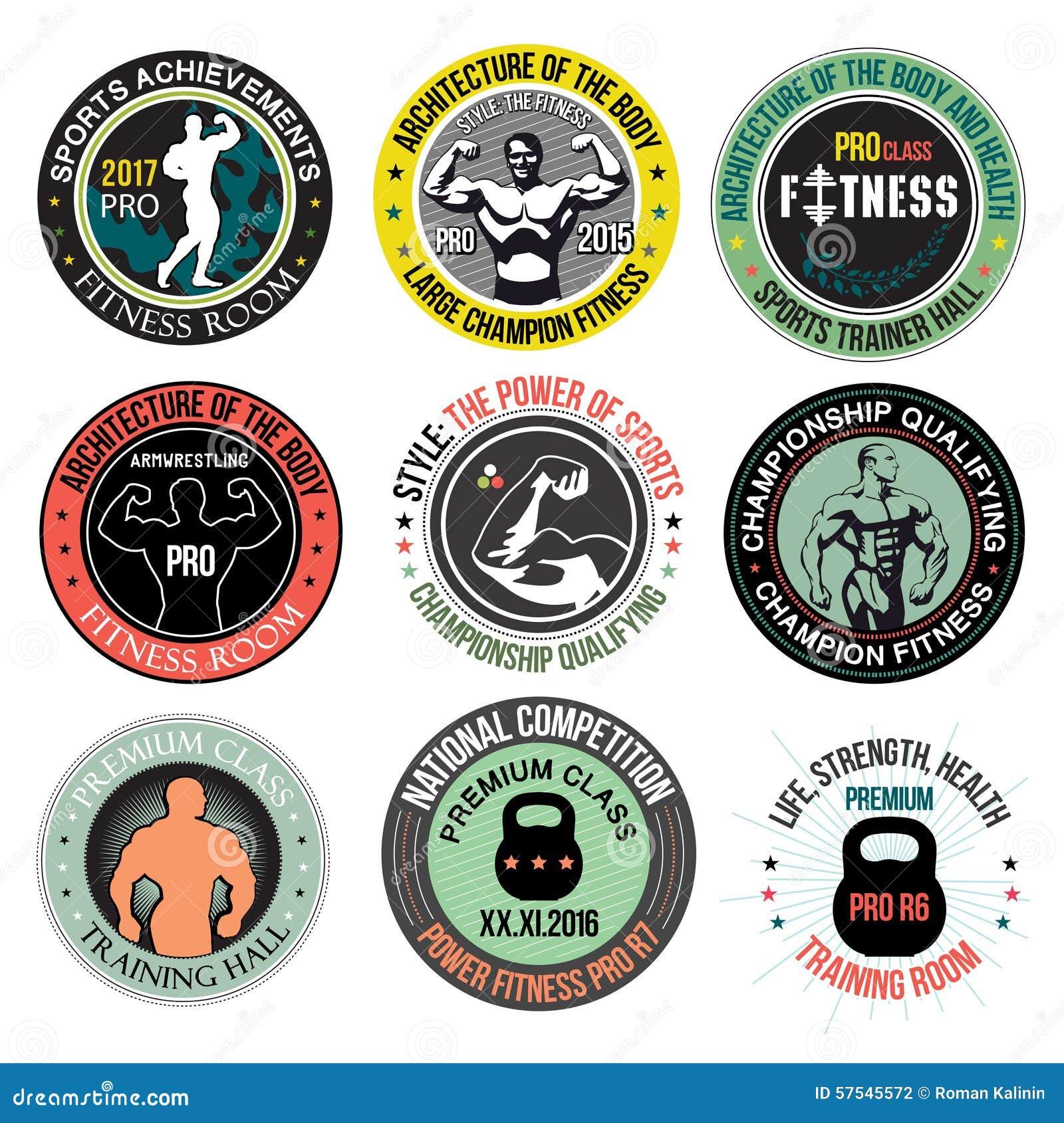 Set Bodybuilding And Fitness Gym Logos, Emblems And Design