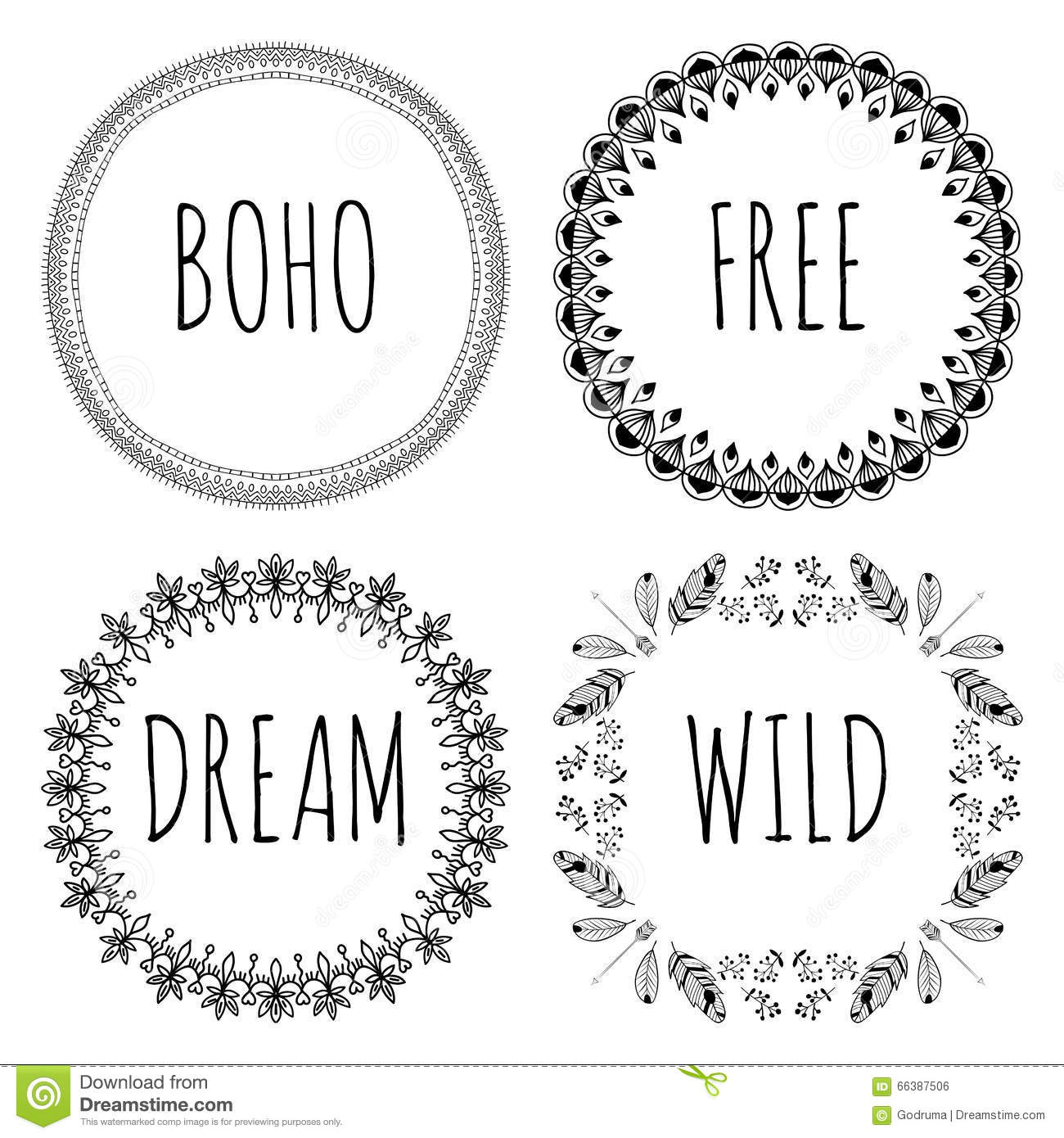 Set Of Boho Style Frames And Hand Drawn Elements Set Of