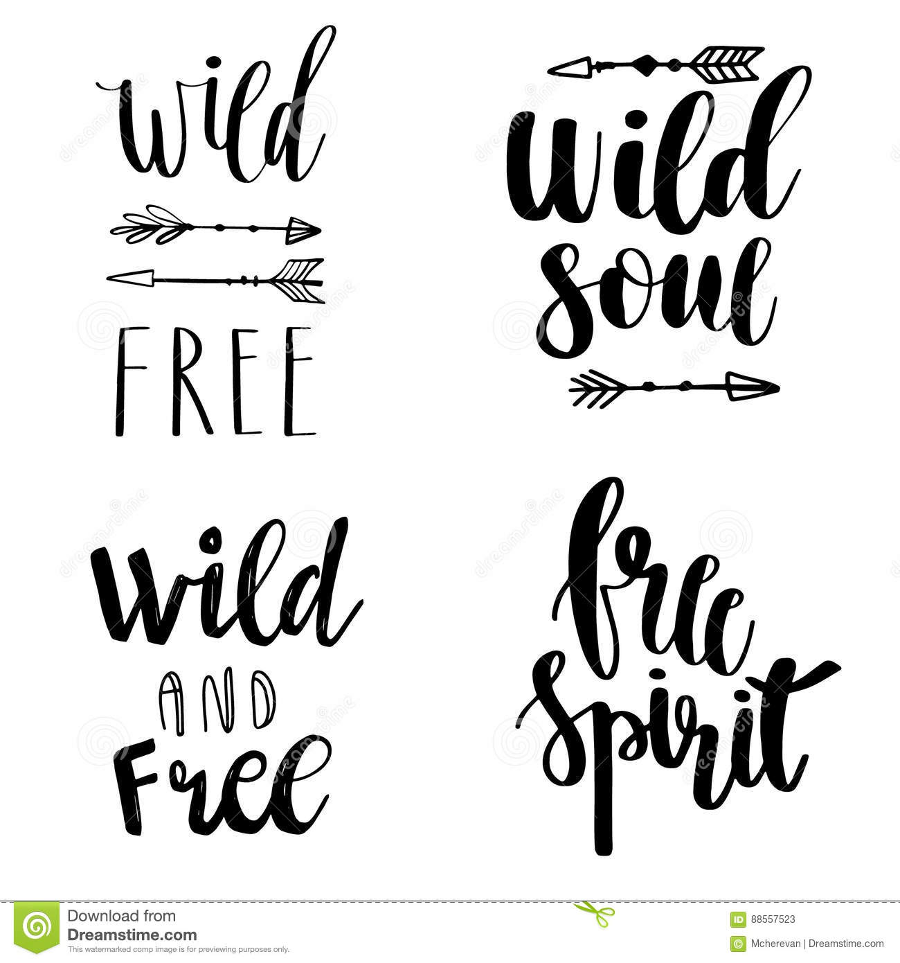Set Of Boho Style Lettering Quotes And Hand Drawn Elements Wild And