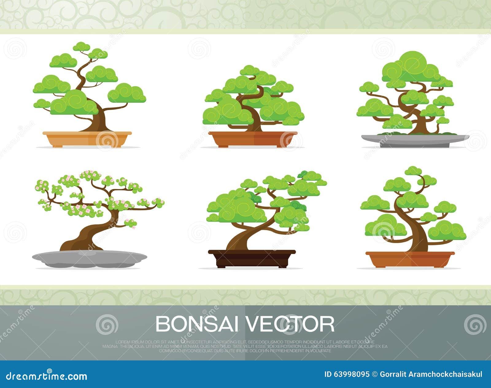 Vector Flat Style Illustration Of Bonsai Tree. Vector ... Bonsai Tree Clipart
