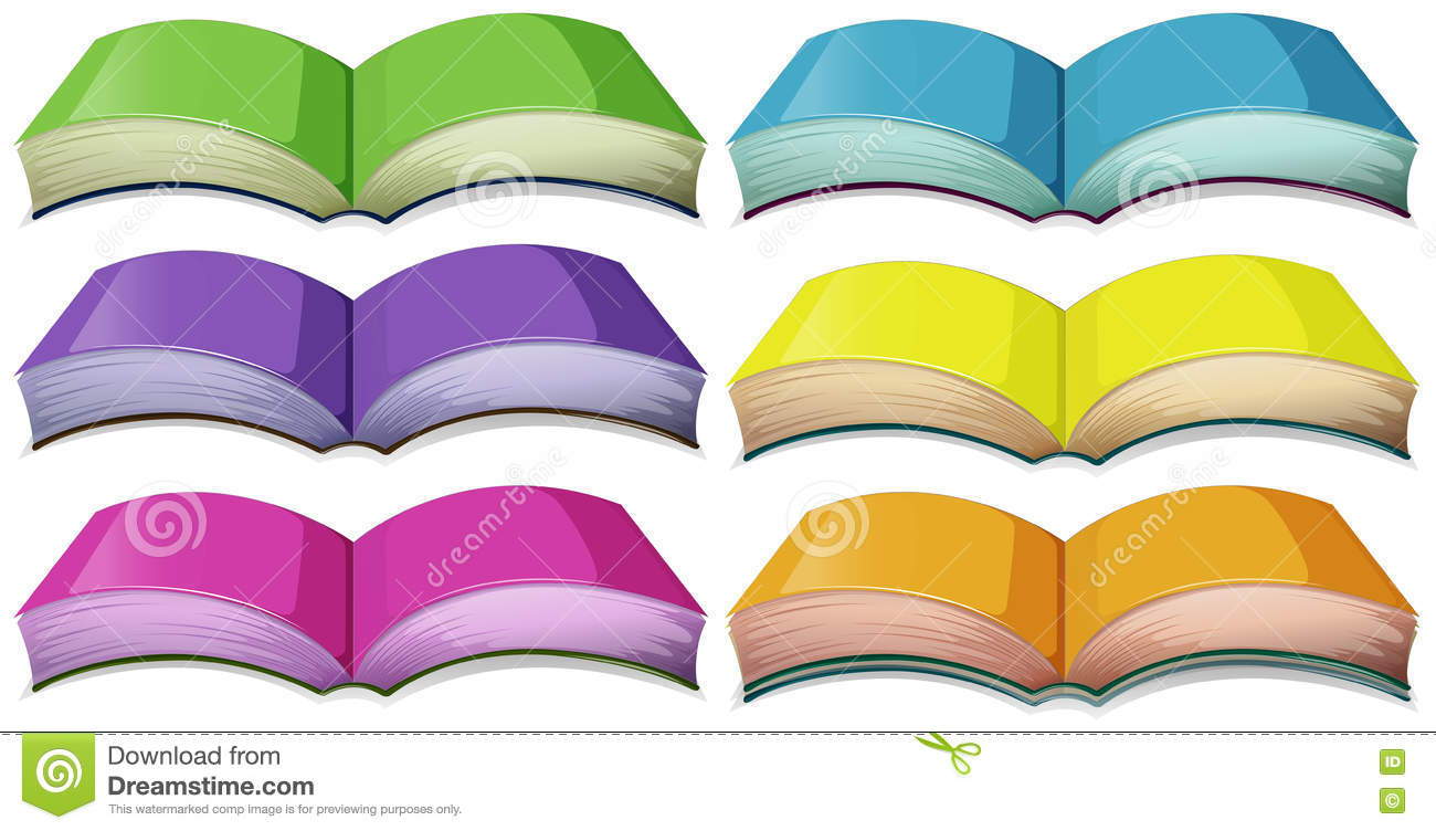 Set Of Books In Different Colors Stock Vector - Illustration of clip ...